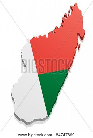 detailed illustration of a map of Madagascar with flag, eps10 vector