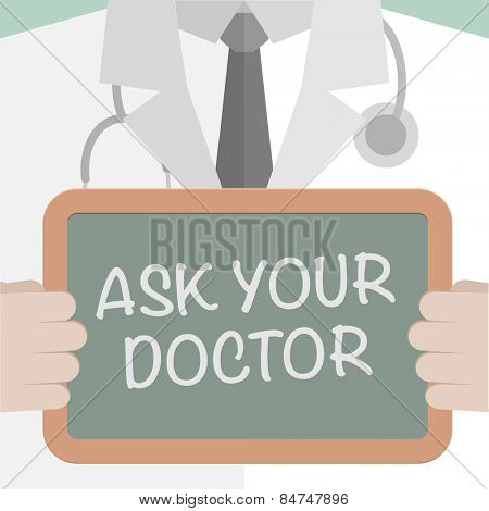 minimalistic illustration of a doctor holding a blackboard with Ask your Doctor text, eps10 vector