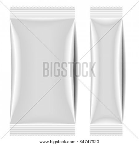 detailed illustration of a blank sachet packaging template, eps10 vector