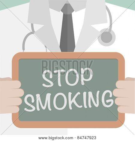 minimalistic illustration of a doctor holding a blackboard with Stop Smoking text, eps10 vector