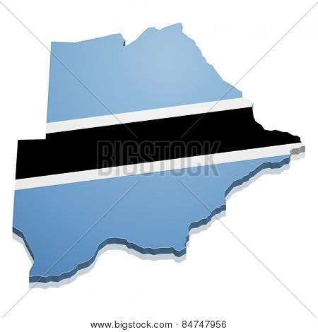 detailed illustration of a map of Botswana with flag, eps10 vector