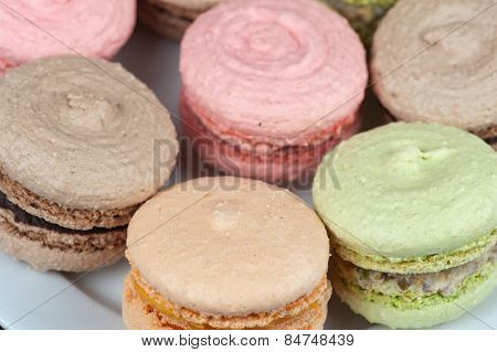 traditional french colorful macarons closeup