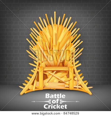 illustration of Throne made of Cricket bats