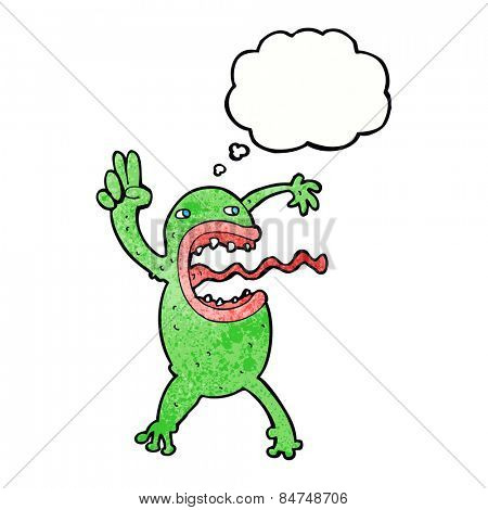 cartoon crazy frog with thought bubble