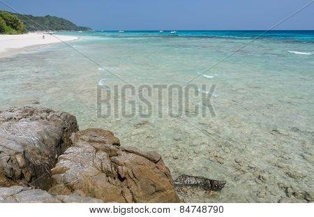 White Sand Beach Of Tropical Crystal Clear Water Of Tachai Island, Thailand