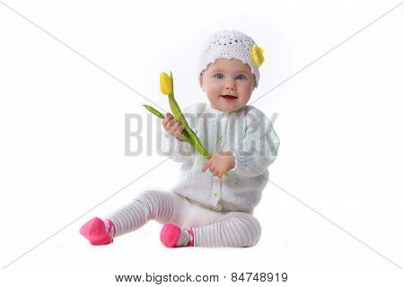 Baby Girl  With Tulip