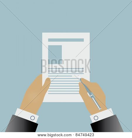 Hand signing a contract illustration in flat design