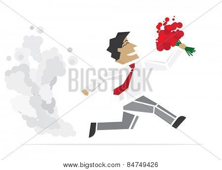 Happy Valentine. Running Man with flowers. illustration.
