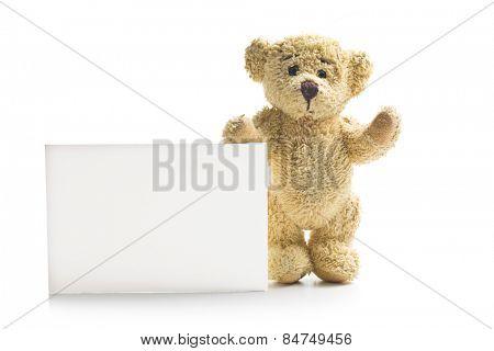 teddy bear with blank board