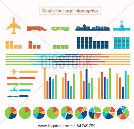 Details for cargo infographic vector illustration