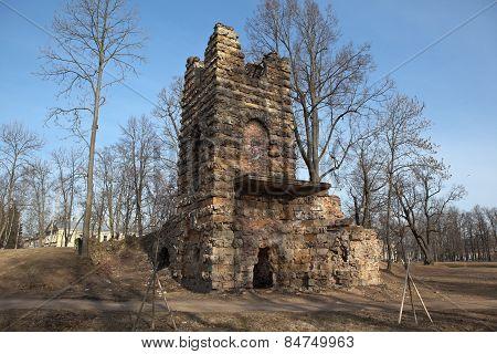 Tower Ruin Orlovsky park. Strelna. St. Petersburg. Russia.
