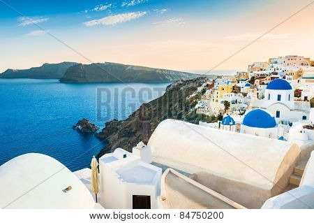 Beautiful View Of Oia Town At Sunset