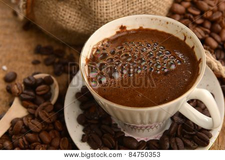 Coffee Beans And Cup