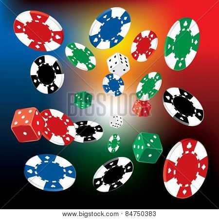 vector Illustration of Poker Chips and dice on blurry background