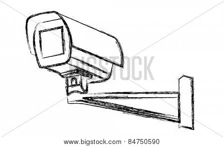 Black and White Surveillance Camera (CCTV) Warning Sign. illustration