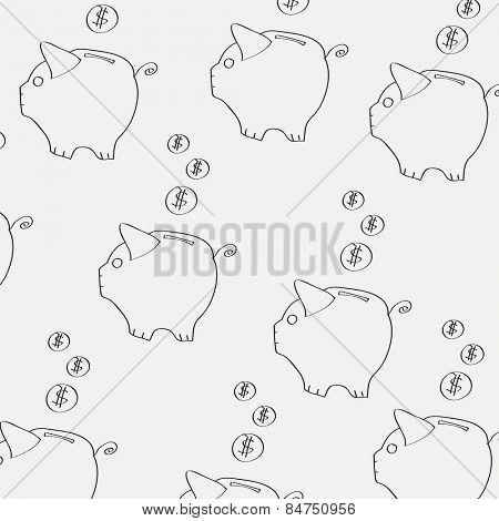moneybox pattern on light background illustration