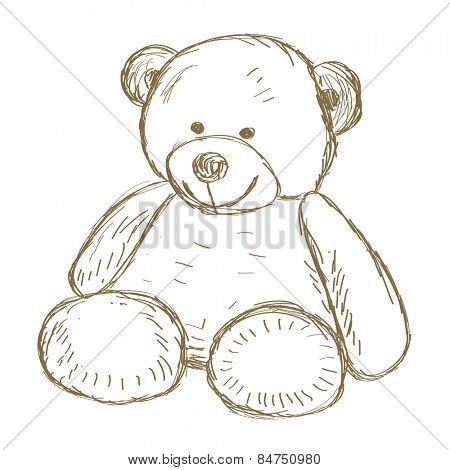 Hand drawn Teddy bear doodle illustration