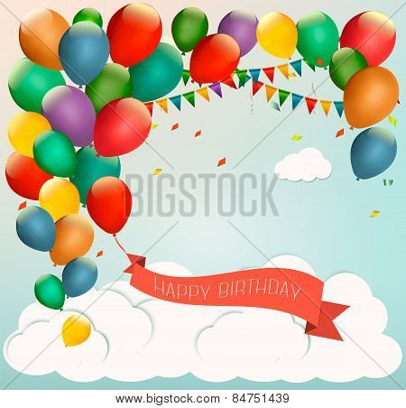 Retro Holiday Background With Colorful Balloons And A Happy Birthday Ribbon.