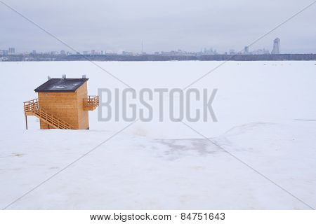 Winter, wooden kiosk
