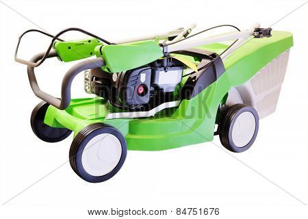 Green lawn mower under the white background