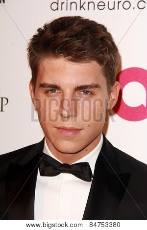 LOS ANGELES - FEB 22:  Nolan Funk at the Elton John Oscar Party 2015 at the City Of West Hollywood Park on February 22, 2015 in West Hollywood, CA