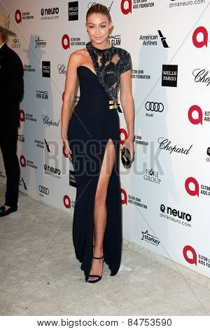 LOS ANGELES - FEB 22:  Gigi Hadid at the Elton John Oscar Party 2015 at the City Of West Hollywood Park on February 22, 2015 in West Hollywood, CA