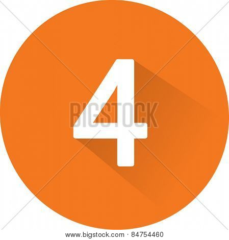 Number 4 on white background. Vector illustration