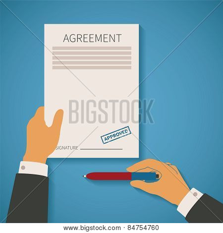 Vector Concept Of Business Deal With Agreement Paper Stamp And Pen