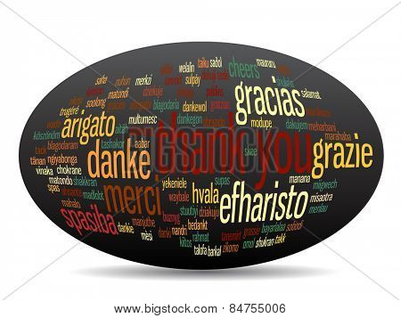 Concept or conceptual abstract thank you word cloud in different languages or multilingual for education or thanksgiving day, metaphor to appreciation, multicultural, friendship, tourism travel