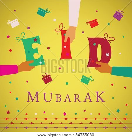 Vector Eid Mubarak Gift Card Or Package Cover For Muslim Holidays