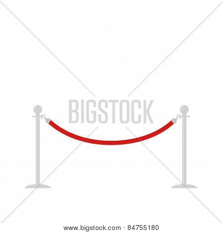 Red Rope Barrier Stanchions Turnstile Facecontrol On White Background Template Flat Design