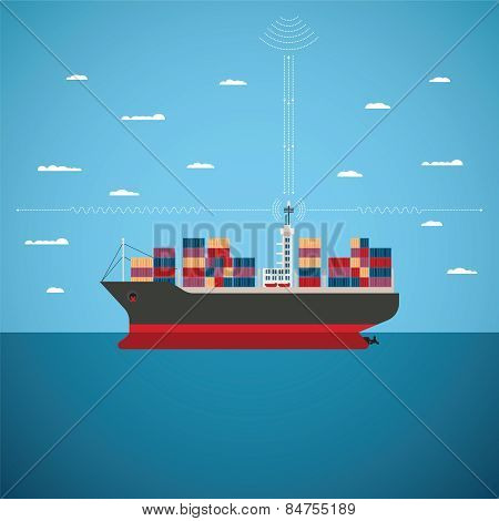 Vector Concept Of River Ocean And Sea Freight Shipping