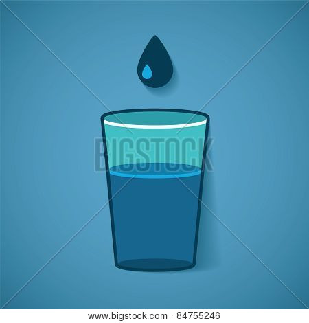 Vector Illustration Of Glass With Water And Drop