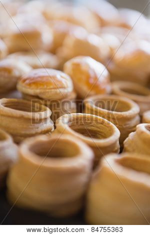 Close up of delicious vol-au-vent at the bakery