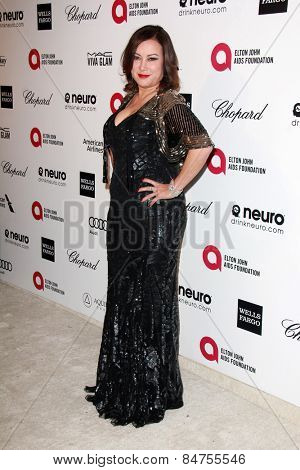 LOS ANGELES - FEB 22:  Jennifer Tilly at the Elton John Oscar Party 2015 at the City Of West Hollywood Park on February 22, 2015 in West Hollywood, CA