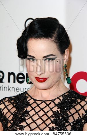 LOS ANGELES - FEB 22:  Dita Von Teese at the Elton John Oscar Party 2015 at the City Of West Hollywood Park on February 22, 2015 in West Hollywood, CA