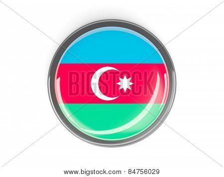 Round Button With Flag Of Azerbaijan