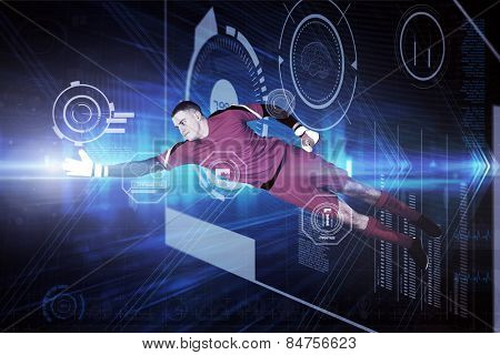 Fit goal keeper jumping up against shiny arrow lines on black background