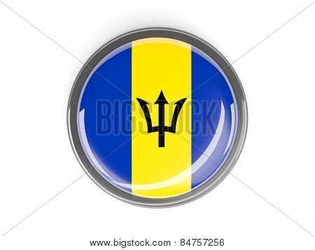 Round Button With Flag Of Barbados