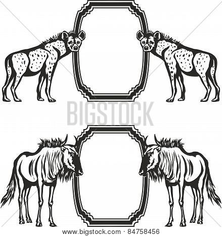 Hyena, antelope Gnu, vector.