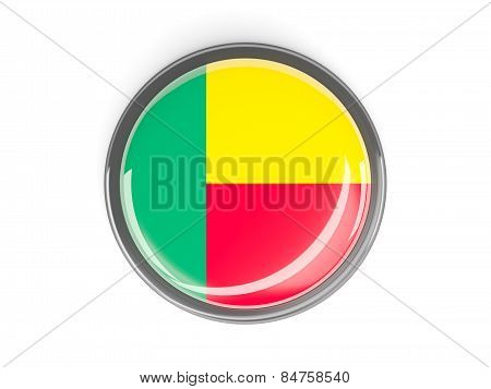 Round Button With Flag Of Benin