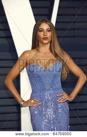LOS ANGELES - FEB 22:  Sofia Vergara at the Vanity Fair Oscar Party 2015 at the Wallis Annenberg Center for the Performing Arts on February 22, 2015 in Beverly Hills, CA