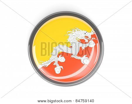 Round Button With Flag Of Bhutan
