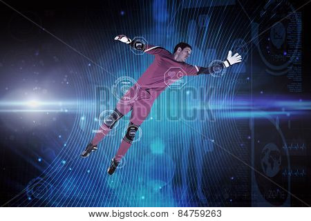 Fit goal keeper jumping up against futuristic black background