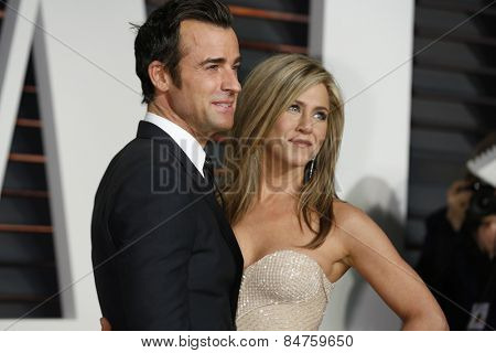 LOS ANGELES - FEB 22:  Justin Theroux, Jennifer Aniston at the Vanity Fair Oscar Party 2015 at the Wallis Annenberg Center for the Performing Arts on February 22, 2015 in Beverly Hills, CA