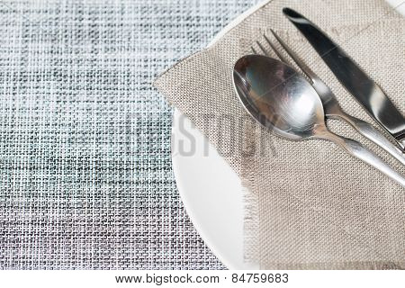 Empty White Plate Spoon, Fork, Knife