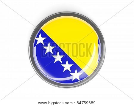 Round Button With Flag Of Bosnia And Herzegovina