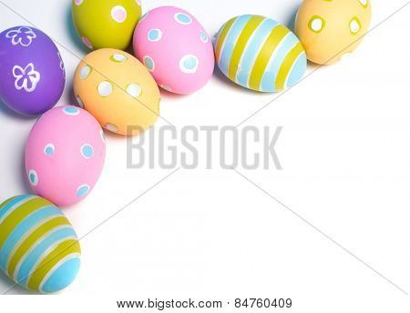 A group of Painted Easter eggs with copy space