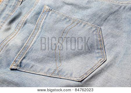 Close Up Of Old Jeans Back Pocket