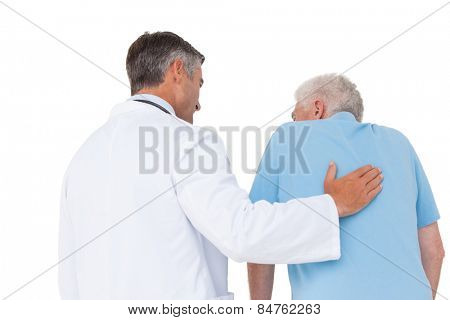 Doctor with senior patient on white background